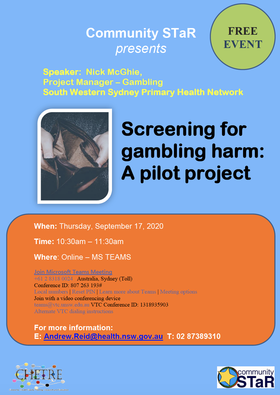 Community STaR – Screening for Gambling Harm: A pilot project – 10:30-11:30 17 Sept 2020