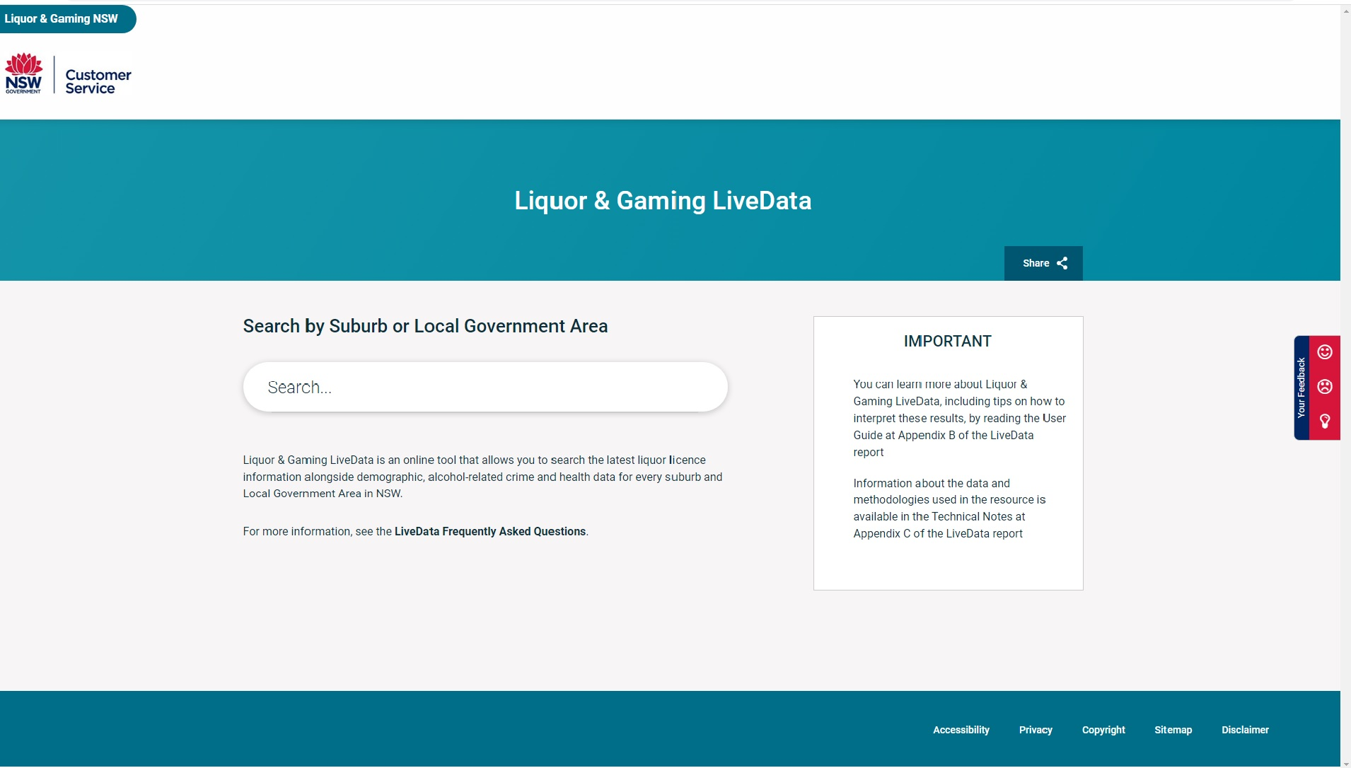 Adequacy of the NSW LiveData site for evidence-based liquor licence decisions